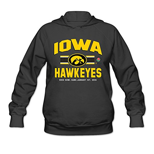 Agongda Women's IOWA HAWKEYES 2016 ROSE BOWL BOUND 3RD DOWN Hoodies M Black