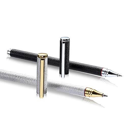 Metal Roller Gel Pen,0.5mm Fine Point, Black Ink,2 Pack Frosted Deluxe Roller Ball ()