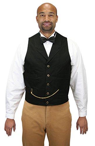 Historical Emporium Men's Classic Cotton Canvas Work Vest 2XT Black by Historical Emporium