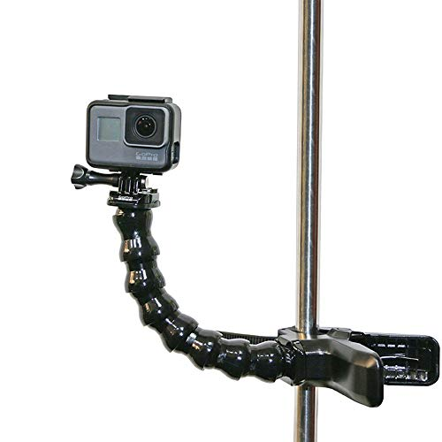 Voolok Jaws Flex Clamp Mount with Adjustable Neck, Multifunction and Stable, Bendable and Flexible, Safe and Durable, for Sport Video Camera, Black