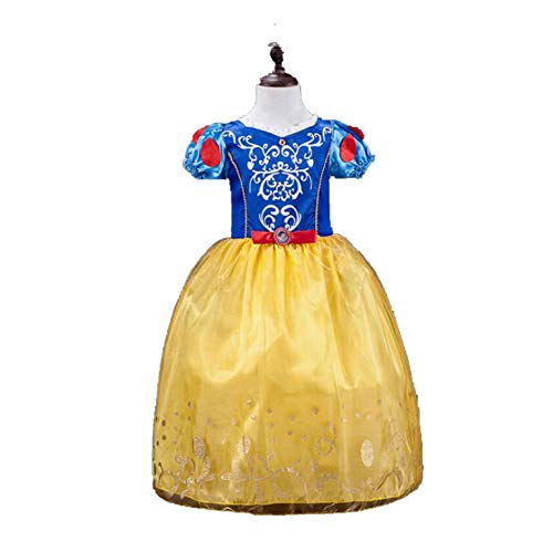 Princess Dresses Rapunzel Aurora Kids Party Halloween Costume Clothes,Gold,7Th -