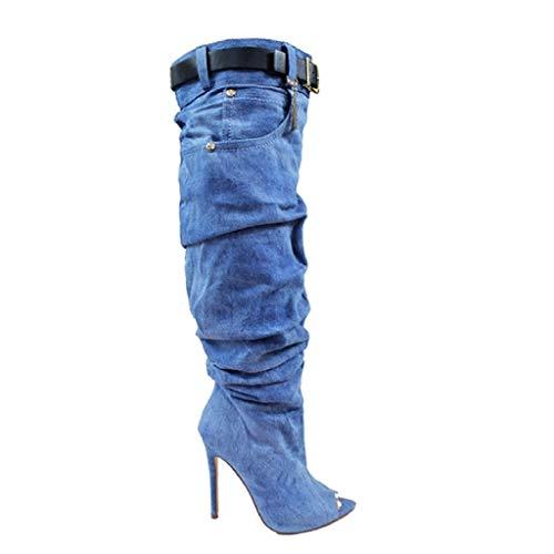 Liliana Lopez-1 Denim Peep Toe Buckle Accent Knee High ()