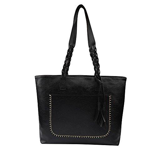 Rakkiss Women Handbag Big Bag Large Capacity Shoulder Bag New Tassel Simple Personality Female Handbags (One_Size, Black)