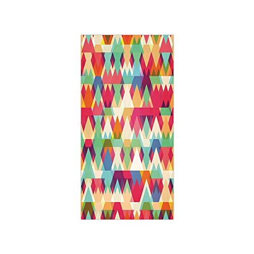3D Decorative Film Privacy Window Film No Glue,Indie,Abstract Vibrant Colorful Triangles Overlap Geometric Design with Artistic Display Decorative,Multicolor,for Home&Office