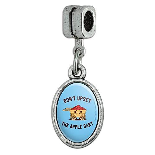 GRAPHICS & MORE Don't Upset The Apple Cart Funny Humor Italian European Style Bracelet Oval Charm Bead
