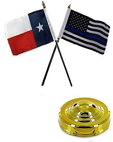 (ALBATROS Texas State with USA Police Blue 4 inch x 6 inch Flag Desk Set Table Stick with Gold Base for Home and Parades, Official Party, All Weather Indoors Outdoors )