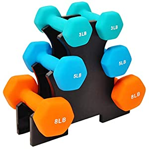 Well-Being-Matters 41dztshKZtL._SS300_ BalanceFrom Colored Neoprene Coated Dumbbell Set with Stand