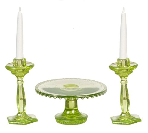 Dollhouse Miniature Chrysnbon Cake Plate with 2 Candles in Green - Depression Cake Glass Plate Green