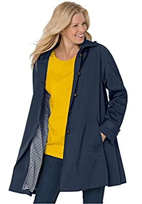 Women's Plus Size Classic Raincoat With Detachable Hood