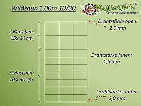 und 1 Drahtspanner Gratis 125//13//30 Aquagart Wildzaun Forstzaun Weidezaun Drahtzaun Knotengeflecht 120cm//125cm//130cm /& 200cm Hoch 4 Verschiedene Zaunarten