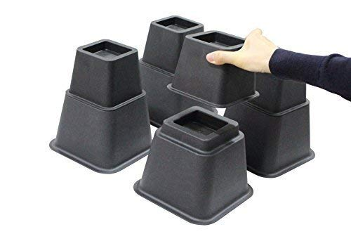 Bed Risers 8 inch Heavy Duty, 3 Height Option Furniture Risers, Bed Riser and Bed Lifts, Black, Set of 4