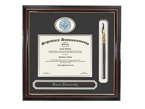 Signature Announcements Kean University Undergraduate  Graduate Professional Doctor Sculpted Foil Seal  Name   Tassel Diploma Frame  16  X 16   Gloss Mahogany With Gold Accent