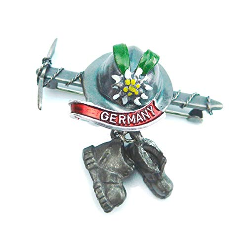 (Oktoberfest German Hat Pin by E.H.G | Metal Ice Axe & Hiking Boots | Germany Banner)