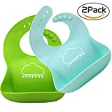 infant baby food - LOPE & NG Soft Silicone Feeding Bib Set Of 2 - Waterproof Adjustable Snaps Baby Bibs For Infants And Toddlers With Food Catcher Pocket (Light Green/Light Blue)