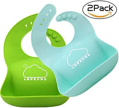 LOPE & NG Soft Silicone Feeding Bib Set Of 2 - Waterproof Adjustable Snaps Baby Bibs For Infants And Toddlers With Food Catcher Pocket (Light Green/Light Blue)