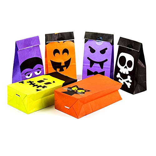 UNIQOOO 72Pcs Halloween Trick or Treat Bags Bulk, Food Safe Grade Paper Pastry Bags,7x3