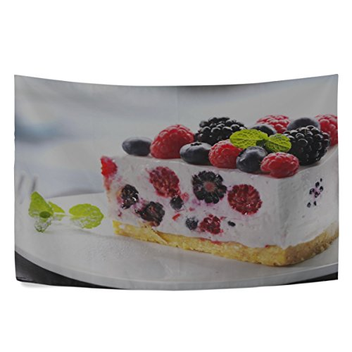 MAXM Tapestry Wall Hanging Dessert Cake Cake Raspberries Sweet Fruit Blueberry Black Currant Food Cream Wall Tapestry With Art Home Decorations For Bedroom Dorm Decor In 60x40 Inches