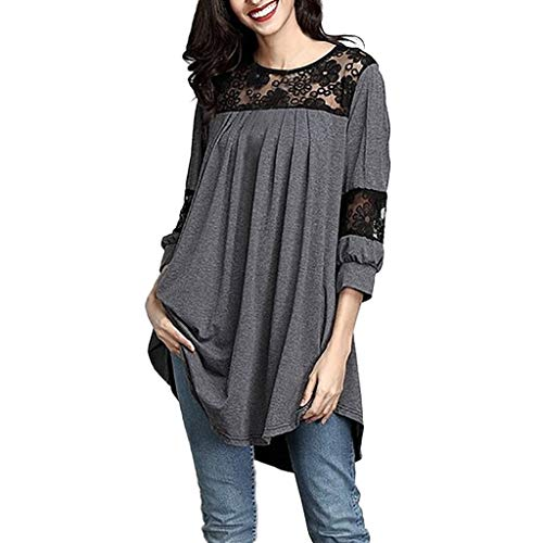 Xinantime Women Solid Color Pullover Jumper Lace Stitching Pleated Dress Sweatshirt Tunic Three Quarter Sleeve Blouse Tops ()