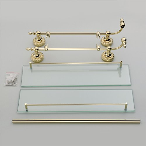 WINCASE Solid Brass Material Mounted Bathroom Shelf Double Layer Glass with Towel Bar Gold Finish, Concealed Screws Mounting Lavatory Shower 18.5 Inch Length by WINCASE (Image #4)