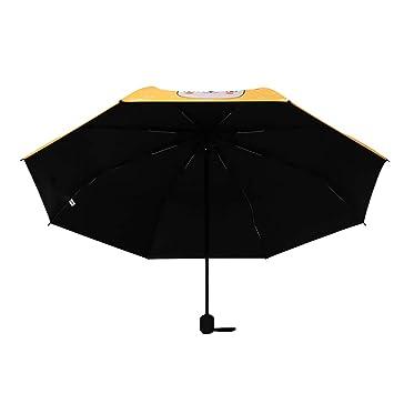 Pintado A Mano Cabeza De Gato Paraguas De Sol De Doble Uso Paraguas Hembra SúPer Ligero PequeñO Protector Solar Anti-UV Paraguas De Vinilo Plegable: ...
