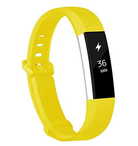 Fundro Compatible for Fitbit Alta Bands, Soft Silicone Replacement Classic Bands Available in Varied Colors with Secure Buckle for Fitbit Alta HR (C# 1-Pack Lemon Yellow, Small) ()