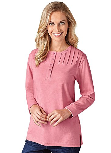 (Long Sleeve Pintuck Top, Pink, Size Large)