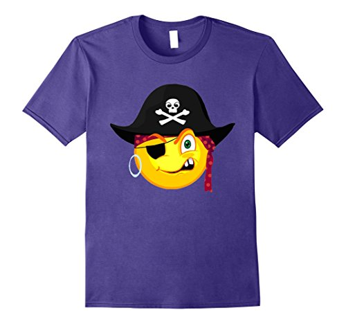 Mens Funny Halloween Pirate Emoji For Cute Costume Horror Night 2XL Purple (Scarecrow Halloween Costume Homemade)