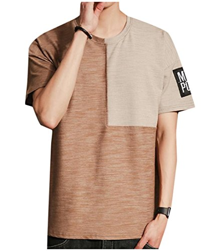 Contrast Stitch Short Sleeve T-shirt (SexyBaby Men Basic Casual Contrast Color Stitch Short-Sleeve Tee Shirts Coffee L)