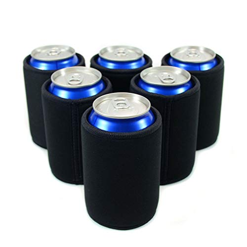 Insulated Beer Can Cover Sleeve Cooler,Neoprene with Stitched Fabric Edges (Black 6-Pack)