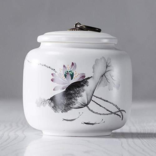 White Porcelain Hand Painted Landscape Tea Cans with Tassel Tea Caddy Spice Storage Canister Ceramic Jar Bottle Home Decor ()