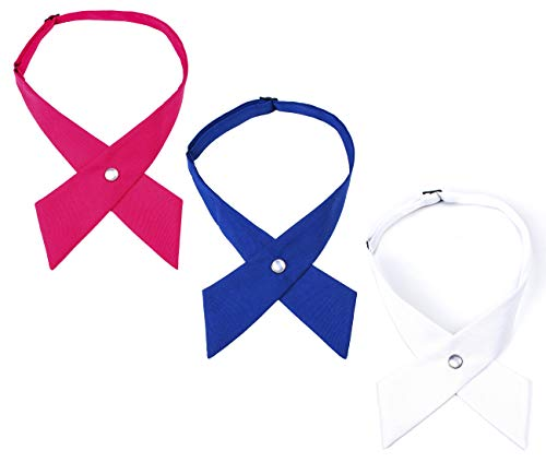Levao Solid Color Criss-Cross Tie, Girls' School Uniform Cross Adjustable Bowtie Mix3-1 Pink,Royal Blue,White