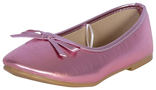 'Rugged Bear Girls Bow Ballet Flats, Pink, Size (Glitter Flats With Bow)