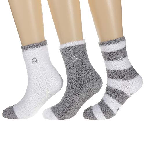 Noble Mount Women's (3 Pairs) Soft Anti-Skid Fuzzy Winter Crew Socks,Set D1,Fit sizes 9-11 (Socks Snuggle)