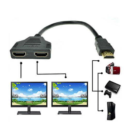 Price comparison product image HDMI Male to 2 HDMI Female 1 in 2 out Splitter Cable,Tuscom 1080P HDMI Port Male to 2 Female 1 In 2 Out Splitter Cable Adapter Converter
