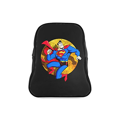 [Navarro Classic Superman Logo Children School High-grade PU Leather Backpack Bag Shoulder Bag] (Iron Fist Costumes For Kids)