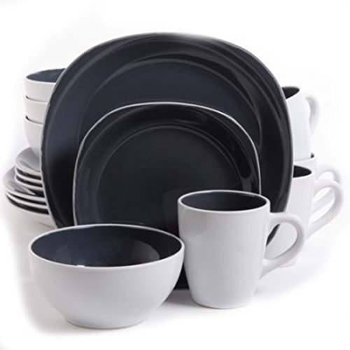 Durable Grey Carved Squares Stoneware Dinnerware Set, 16Pcs by Gibson Dinnerware Collection