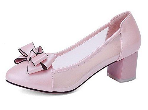 AllhqFashion Damen Blend Ziehen auf Zehe Rund Mittler Absatz Rein Pumps Schuhe Pink