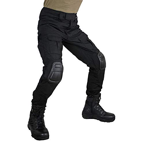 - zuoxiangru Men's Multicam Tactical Pants Multi-Pockets Military Camo Outdoor Airsoft Combat Hunting Pants with Knee Pads (Black, US XL=Tag 38)