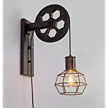 Kiven Loft Industrial Wall Light Vintage-Style 1-Light Iron Wall Sconce Lifting Pulley Wall Lamp Edison vanity Light Fixture