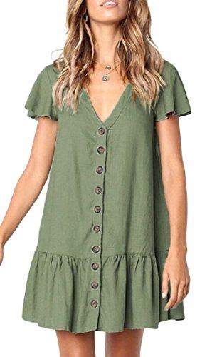 A Green Sleeve Down Women's Line Neck Button Jaycargogo Swing Dress Mini V Short nqxw0nU7a