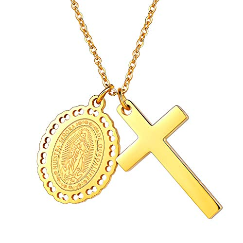 (FaithHeart Virgin Mary Cross Charm Pendant Necklace 18K Gold Plated 55 cm Chain (Gold))