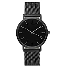 TONSEE Casual Men Women Steel Strap Quartz Wrist Watch (Black)