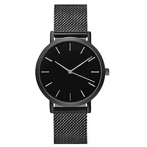TONSEE Casual Men Women Steel Strap Quartz Wrist Watch (Black)
