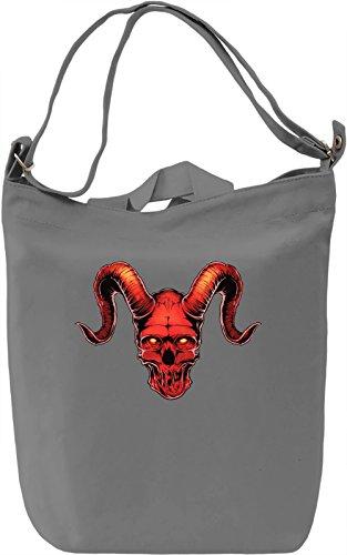 Horned skull Borsa Giornaliera Canvas Canvas Day Bag| 100% Premium Cotton Canvas| DTG Printing|