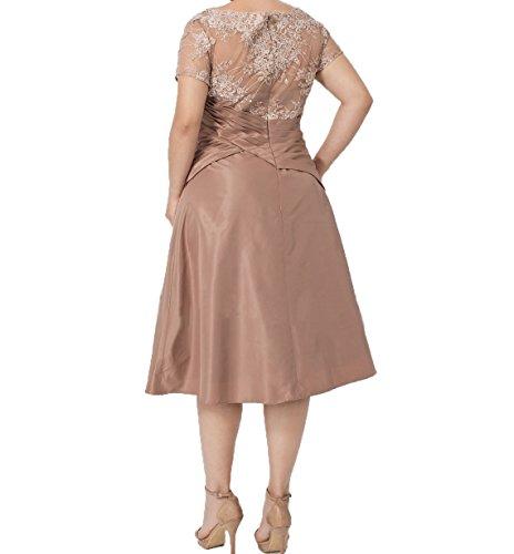 Festlichkleider Knielang Abendkleider Kurzes Damen Charmant Brautmutterkleider Kurzarm Formalkleider Orange mit Ballkleider zfqRx5wA