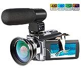 4K Camcorder,Ansteker 48MP 30FPS Ultra HD WiFi Video Camera IR Night...