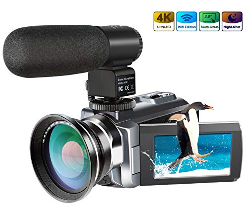 4K Camcorder,Ansteker 48MP 30FPS Ultra HD WiFi Video Camera