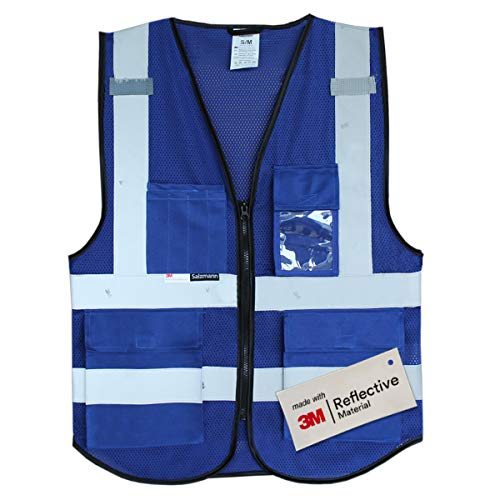 (Salzmann 3M Multi Pocket Working Vest, Working Uniform, Highly Breathable Mesh Vest, L/XL)