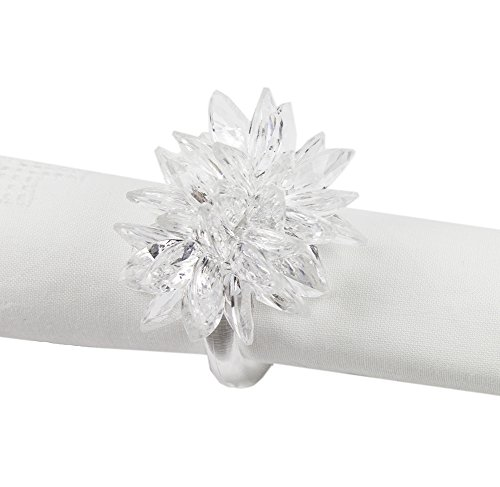 Fennco Styles Crystal Design Collection Napkin Ring - Set of 4 (White Crystal Flower)