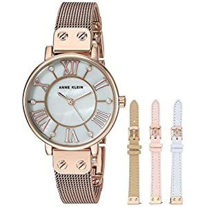 Anne Klein Women's Mesh Bracelet Watch and Interchangeable Strap Set, AK/3180RGST